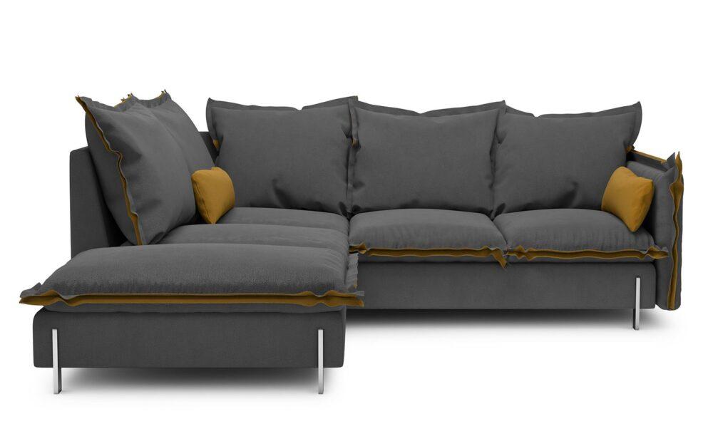 Borgo Corner Sofa - soft touch anthracite-soft touch mustard