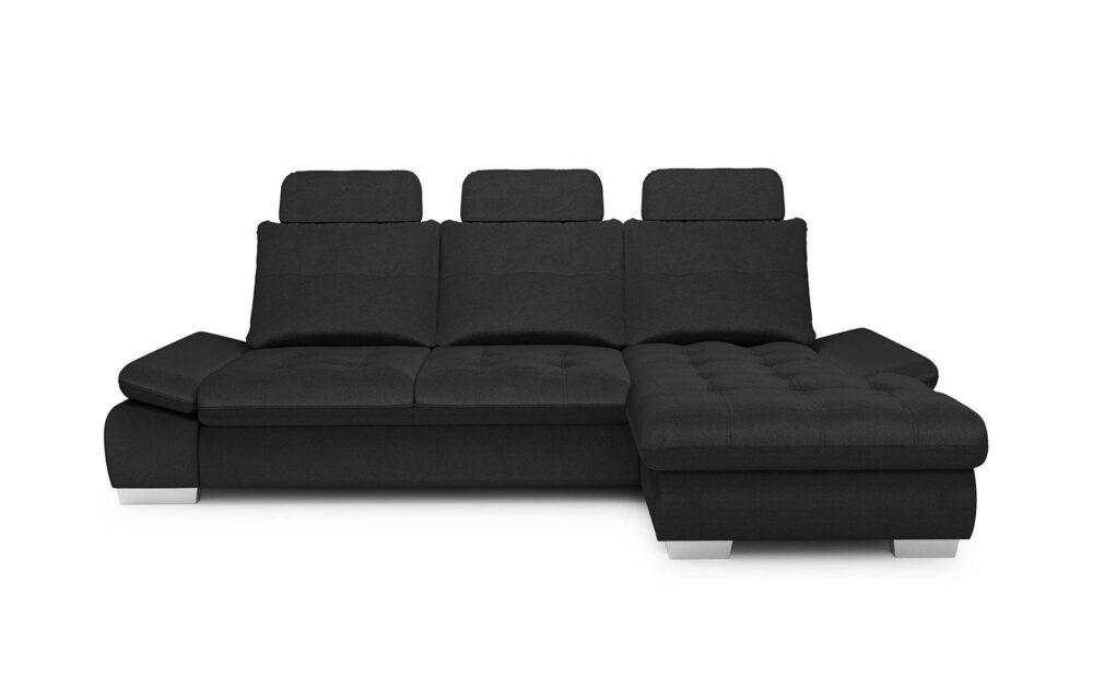 Cremona Medium Corner Sofa - soft velur nero