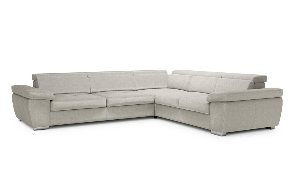 Rosso Large Corner Sofa - soft velur silver